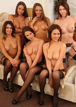 Six Brunettes In Sexy Lingerie & Stockings